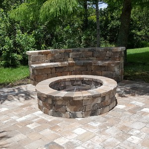 Cozy Firepit and Stone Bench