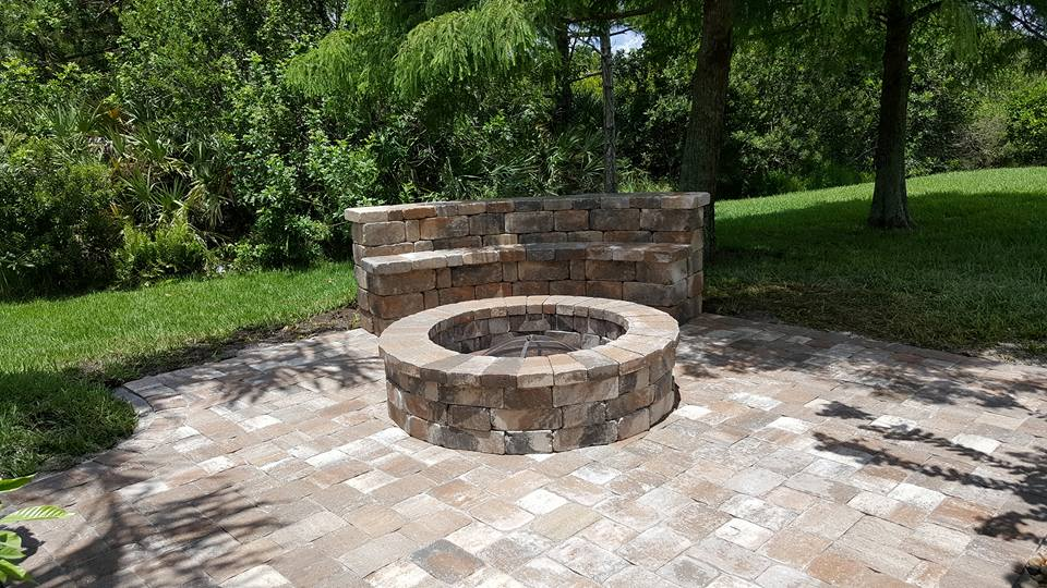 Fire Pit and Paver Bench